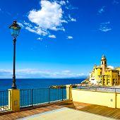 Camogli Church On Sea, Lamp And Terrace. Ligury, Italy