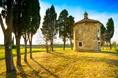 San Guido Oratorio Church And Cypress Trees. Maremma, Tuscany, Italy, Europe