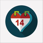 Valentine's Day February Fourteen Flat Icon With Long Shadow,eps10