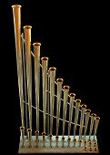 image of pipe organ  - Detail from church organ isolated on black - JPG