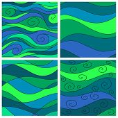 Set Of Sea Waves Background