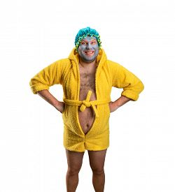 stock photo of madman  - Strange man with face pack - JPG