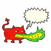 picture of fire-breathing  - cartoon fire breathing imp with speech bubble - JPG