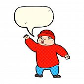 foto of crazy hat  - cartoon man in hat waving with speech bubble - JPG