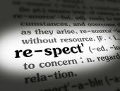 image of respect  - Dictionary definition of the word RESPECT on paper - JPG