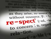 foto of respect  - Dictionary definition of the word RESPECT on paper - JPG