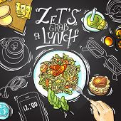 stock photo of lunch  - Beautiful hand drawn illustration business lunch top view - JPG