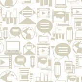 foto of blog icon  - Media and communication seamless pattern with blog icons - JPG
