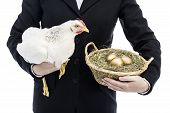 stock photo of laying eggs  - Businesswoman holding chicken that lays golden eggs - JPG