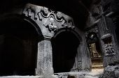 picture of armenia  - The hall of ancient christian temple Geghard with a dome columns and bas - JPG