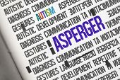 stock photo of aspergers  - The word asperger against open book - JPG