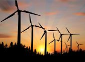 picture of generator  - illustration with wind power generator silhouettes in country landscape - JPG