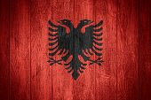 stock photo of albania  - Albania flag or Albanian banner on wooden boards background - JPG