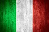 stock photo of italian flag  - Italy flag or Italian banner on wooden boards background - JPG