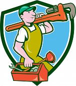 stock photo of overalls  - Illustration of a plumber in overalls and hat holding monkey wrench on shoulder and carrying toolbox viewed from the side set inside shield crest on isolated background done in cartoon style - JPG