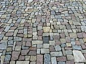 foto of paving stone  - Way of stone paving in the city - JPG