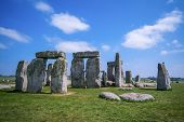 stock photo of stonehenge  - View at the Stonehenge at sunny day - JPG
