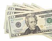 stock photo of twenty dollars  - Pile of twenty dollars isolated on the white background - JPG