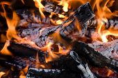 pic of bonfire  - Camping bonfire with flame and firewood fragment close - JPG