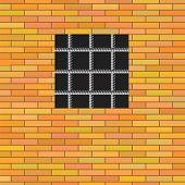 picture of jail  - Prison Window 0n Red Brick Wall - JPG