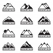 pic of mountain-high  - monochrome set of twelve mountain icons  - JPG