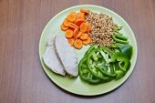 picture of prophets  - Fresh cooked chicken or turkey two slices lying on a green plate next is chopped green bell pepper sliced carrot and the prophets young wheat lunch dinner healthy food without fat diet tasty useful beautiful fiber protein - JPG