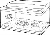 pic of glass frog  - Outline cartoon of frog on fish tank wall - JPG