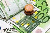Euro banknotes an coins