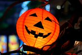 foto of jack-o-laterns-jack-o-latern  - closeup shot of halloween lantern on the night scenery - JPG