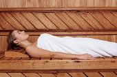 stock photo of sauna  - Body treatment in sauna - JPG