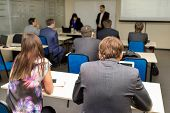 picture of audience  - The audience listens to the acting in a classroom - JPG