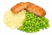 stock photo of mashed potatoes  - Crispy battered pork luncheon meat fritters with mashed potato and mushy peas isolated on a white background - JPG