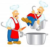 stock photo of ladle  - two cook or chief with pan and soup ladle - JPG