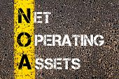 stock photo of asset  - Business Acronym NOA - Net Operating Assets. Yellow paint line on the road against asphalt background. Conceptual image - JPG