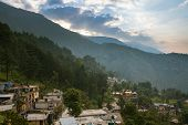 foto of lamas  - Sunrise over McLeodGanj the residence town of Dalai Lama Dharamsala India - JPG