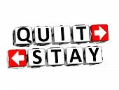 picture of quit  - 3D Quit or Stay over white background - JPG