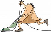 picture of caveman  - This illustration depicts a caveman using a vacuum cleaner - JPG