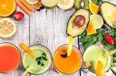 picture of fruit-juice  - delicious smoothie and juice with fresh fruits and vegetables - JPG
