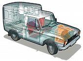 Vector entrega / van de carga