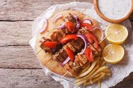 image of souvlaki  - Greek food - JPG