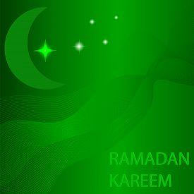 picture of ramazan mubarak  - Moon and Stars on Green Wave Background - JPG