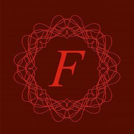 picture of monogram  - Simple  Monogram Design Template on Red Background - JPG