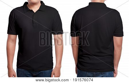 Black Polo T Shirt Mock Up Front And Back View Isolated Male Model Wear Plain Black Shirt Mockup Polo Shirt Design Template Blank Tees For Print