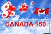 Canadian maple leaf flag and balloons in the sky for Canada 150 Birthday celebration.  poster