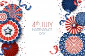 4Th Of July, Usa Independence Day Vector Banner Template.. White Background With Paper Stars In Usa poster