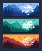Mountains Adventures Horizontal Banner poster