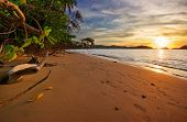 Evening on tropical beach. Siam bay. Province Trat. Koh Mak island. Kingdom Thailand