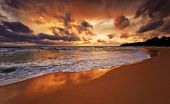 Tropical sunset. Surin  beach. Phuket island. Kingdom Thailand