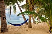 View of nice tropical empty sand beach with some palm and hammock in bad weather. Samui island. Thai