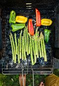 Asparagus And Bell Peppers On A Barbecue Bbq Charcoal Grill. poster